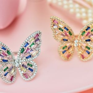 NWT Garden Collection Colorful CZ Butterfly Rings